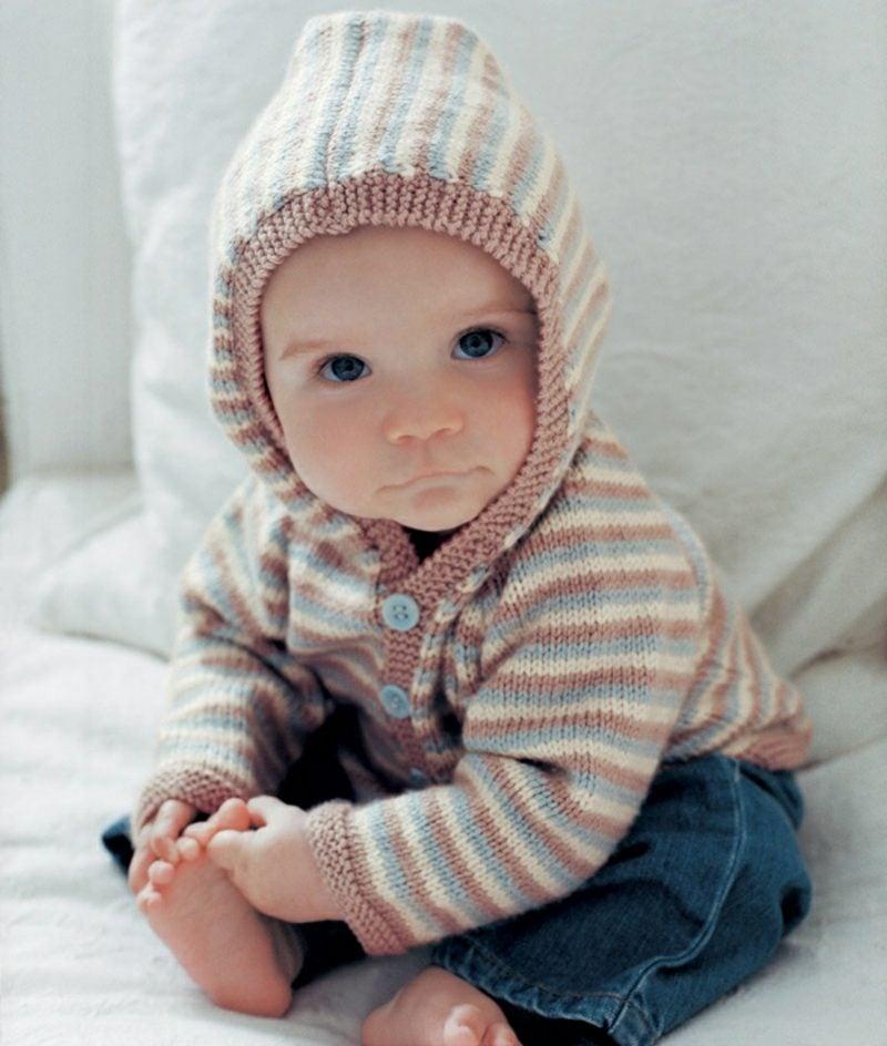 Baby Pullover stricken Streifenmuster Kapuze