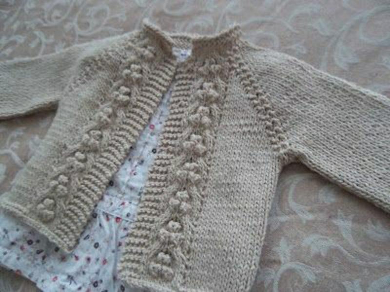 Baby Pullover stricken beige ohne Knöpfe