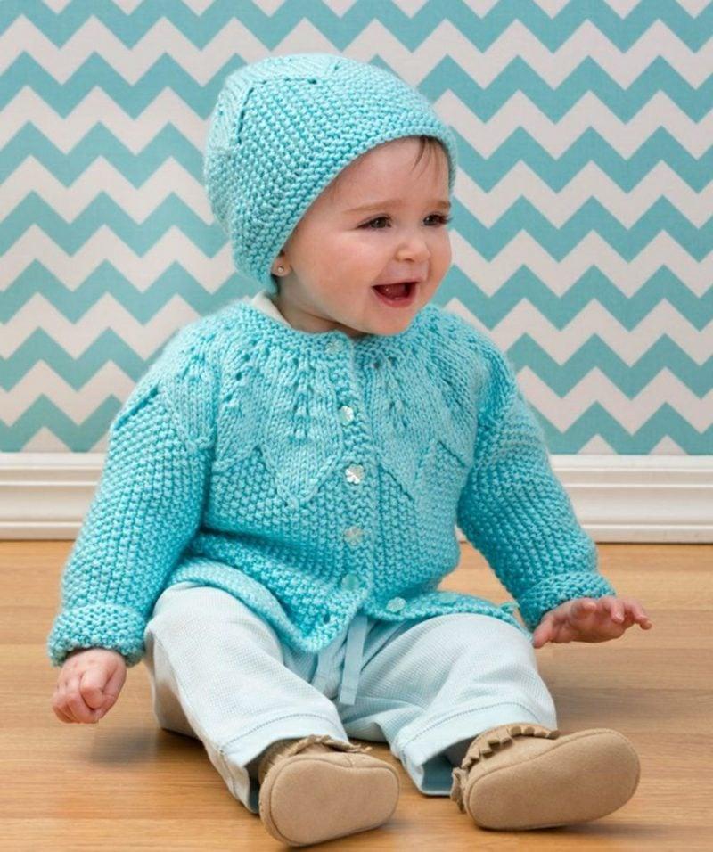 Baby Pullover stricken blau herrlicher Look