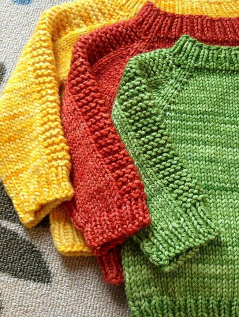 Baby Pullover stricken in drei farben