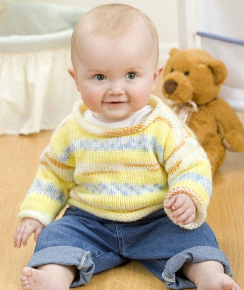 Baby Pullover stricken gelb und blau Junge