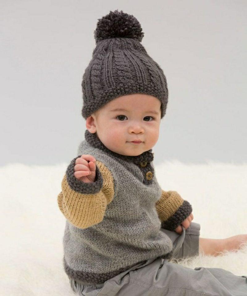 Baby Pullover stricken gelb und grau Mütze