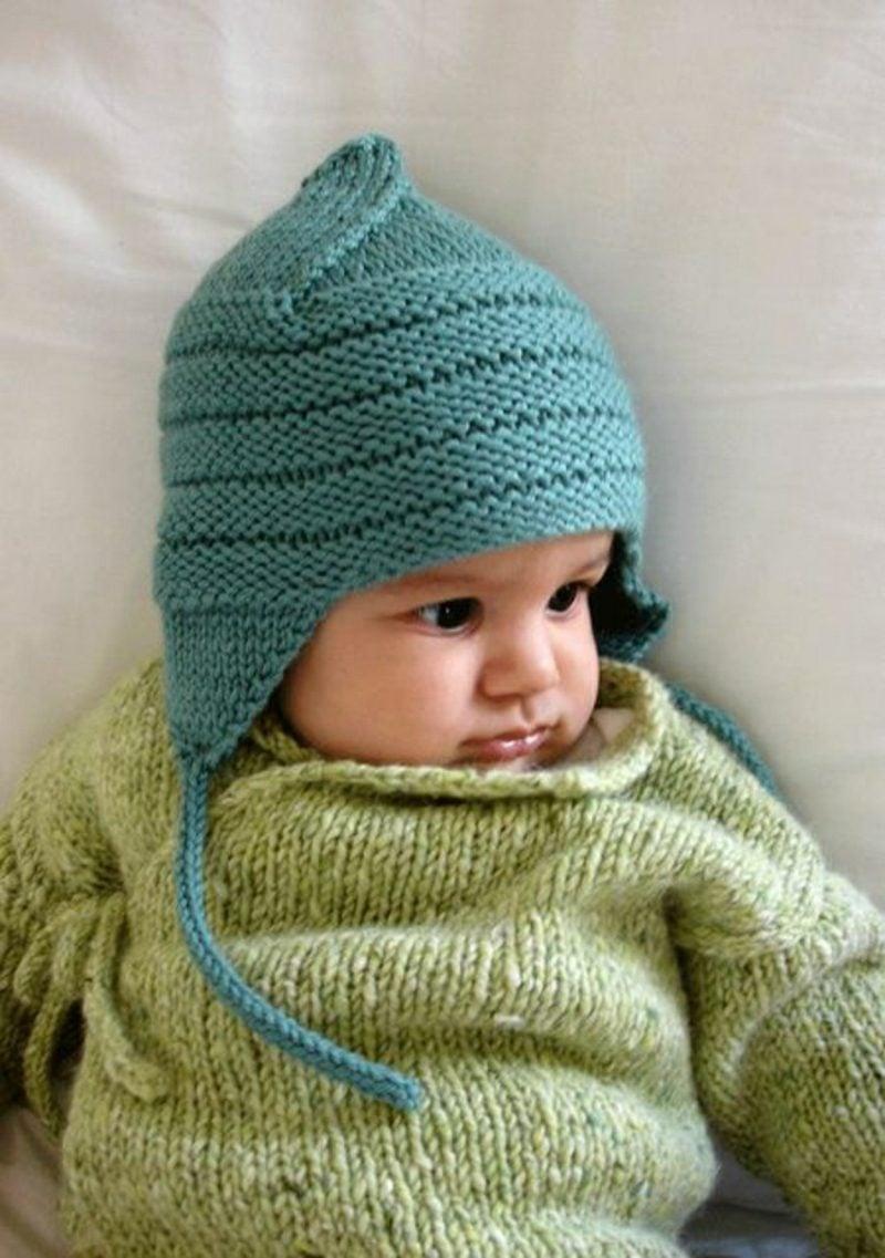 Baby Pullover stricken hellgrün Mütze