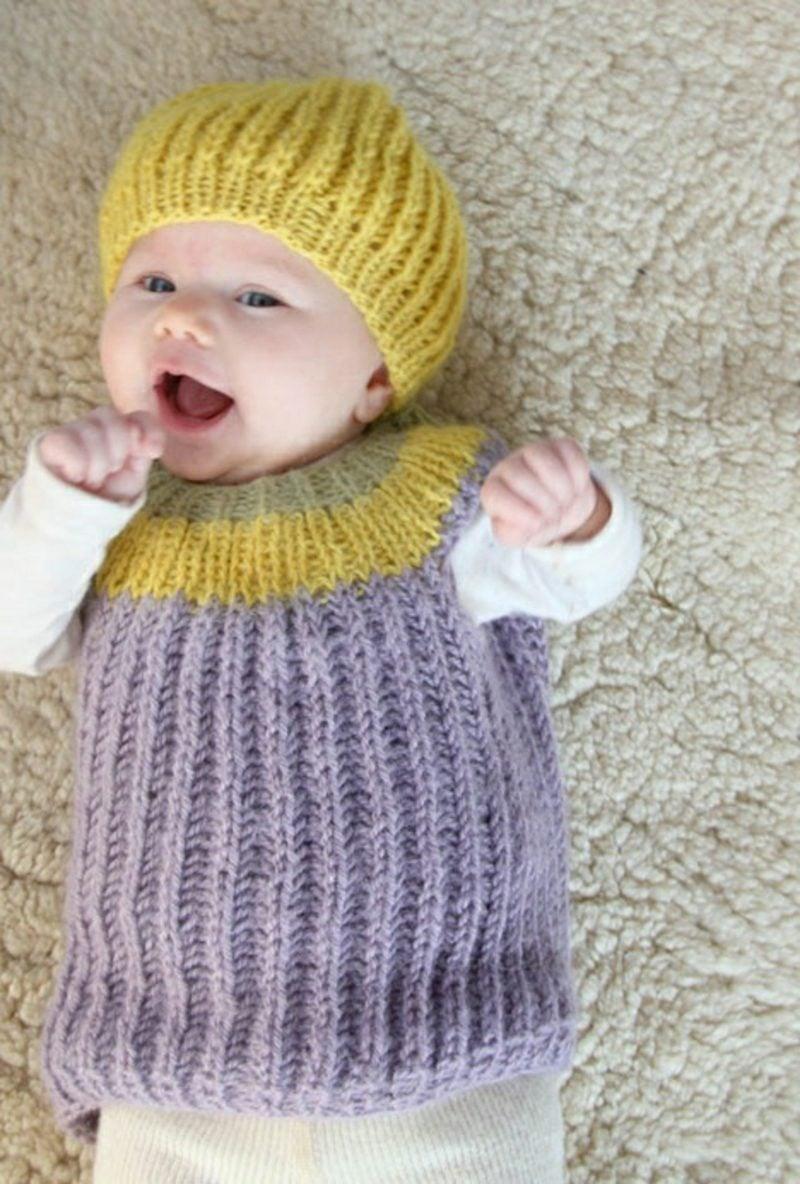 Baby Pullover stricken Streifenmuster Gelb Violett mit Mütze