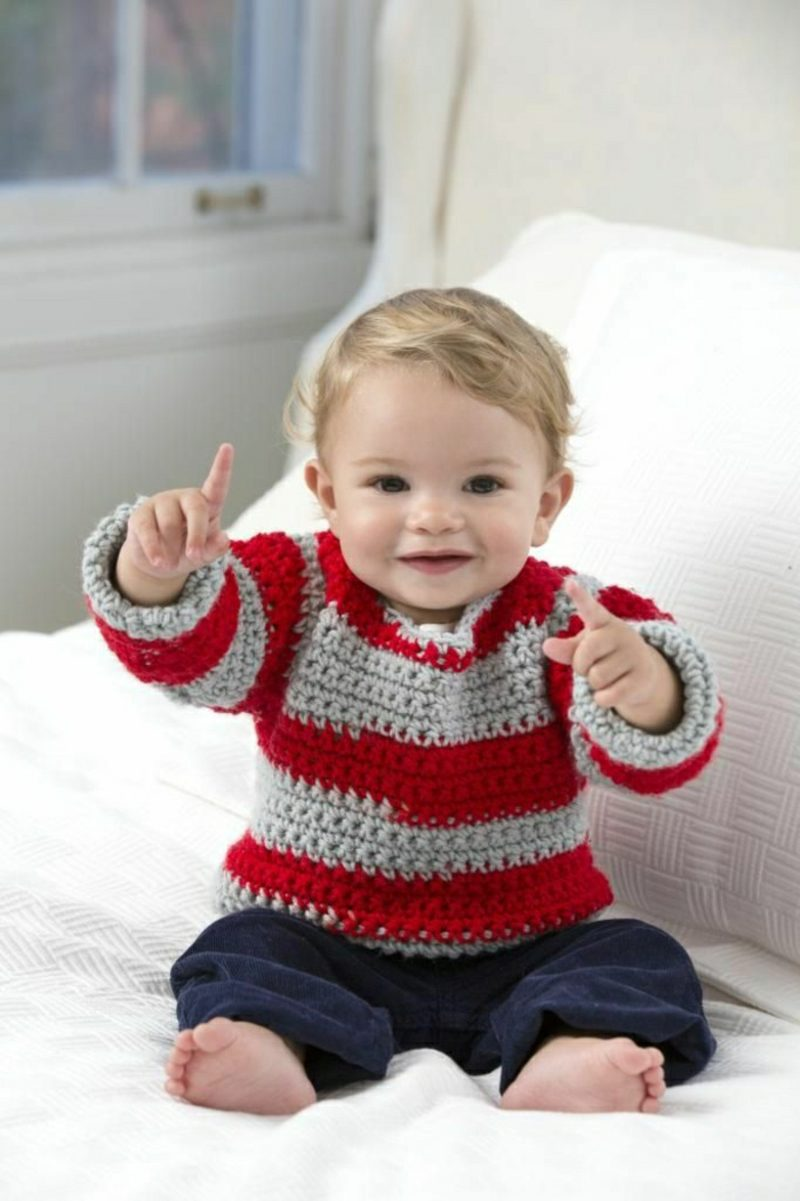 Baby Pullover stricken rot und grau