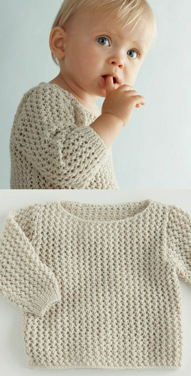 Baby Pullover stricken weiss originell