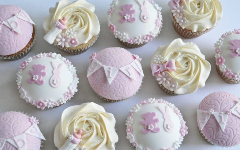 Babyparty Deko Cupcakes rosa und gelb