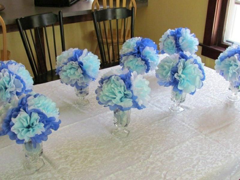 Babyparty Deko Papierblumen selber machen