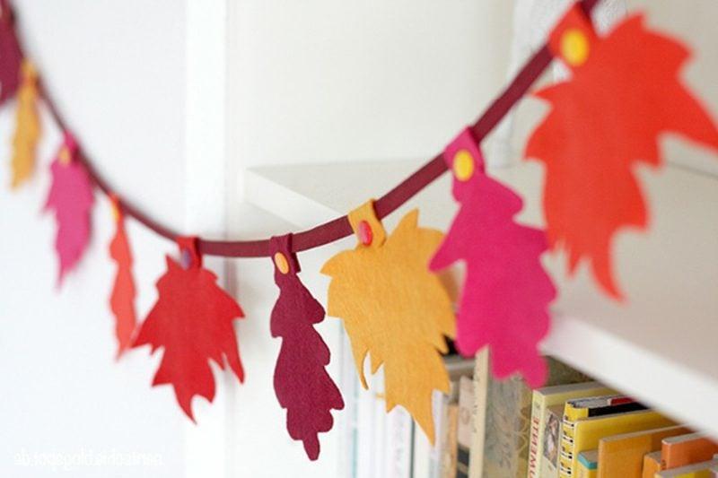 Herbstbasteln mit Kindern Girlande Blätter Filz