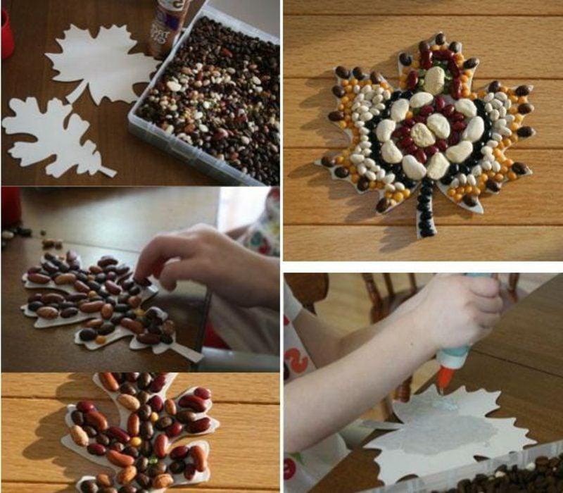 Herbstbasteln mit Kindern Mosaik Hülsenfrüchte