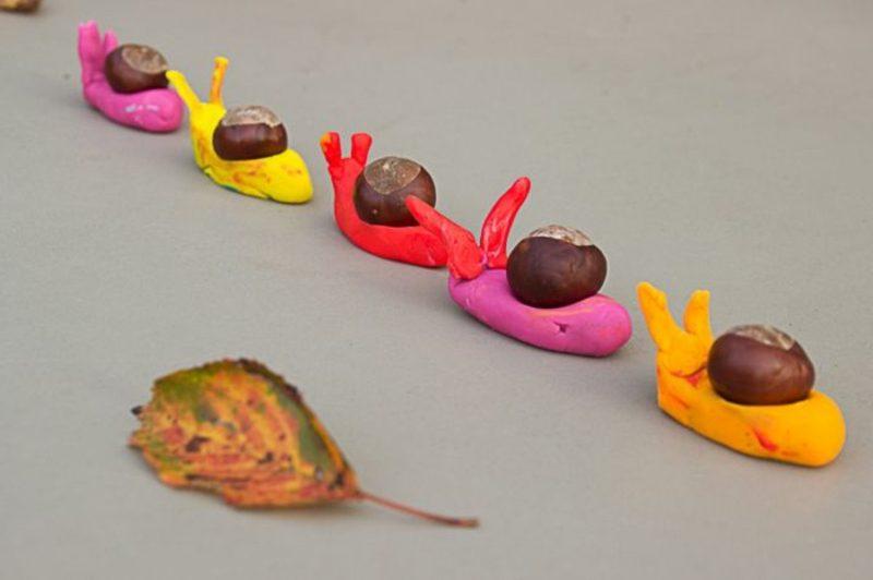 Herbstbasteln mit Kindern Schnecken
