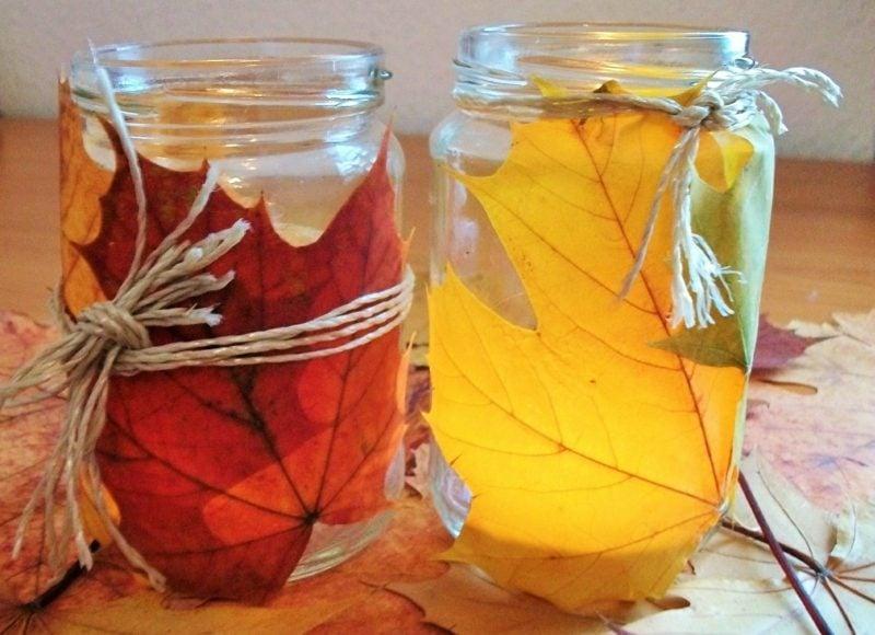 Herbstbasteln mit Kindern windlichter aufpeppen