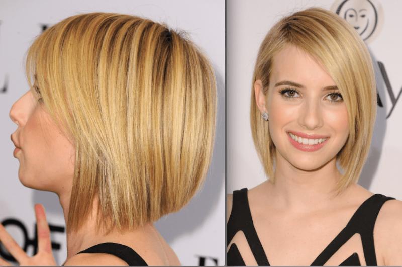 kurzer Bob blond asymmetrisch Seitenscheitel