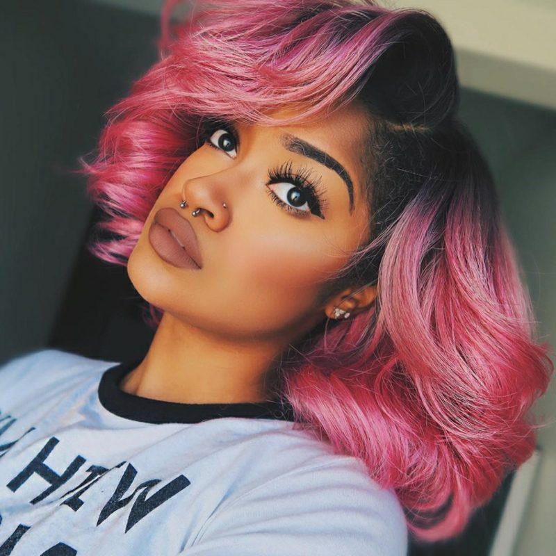 kurzer Bob Dip Dye Pink dunkler Haaransatz