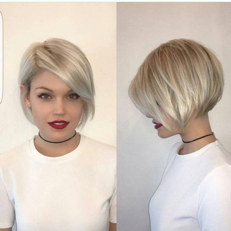 kurzer Bob blond asymmetrisch super elegant