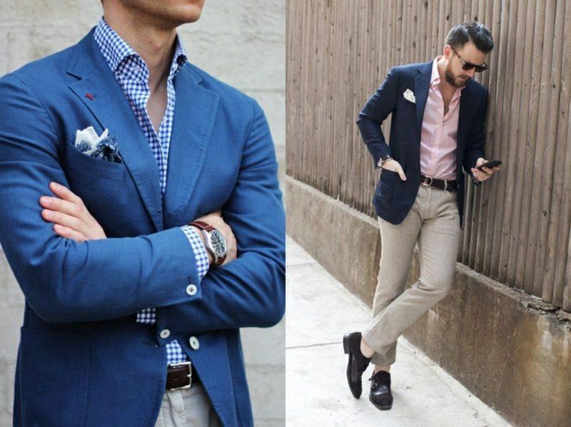 Anzüge Herren Blazer mit rosa oder kariertes Hemd