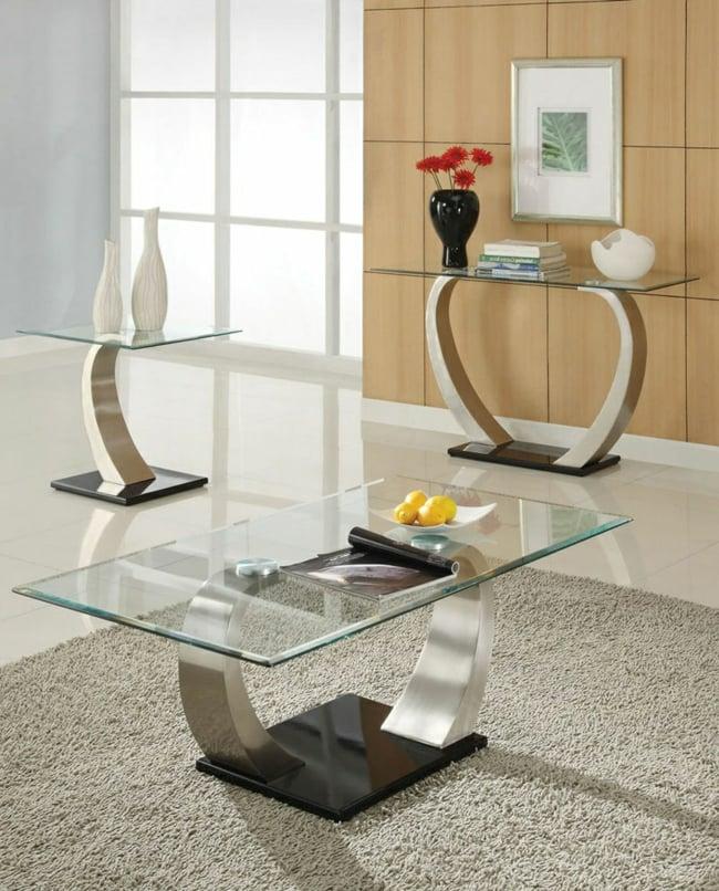 Couchtisch modern Edelstahl Beine Glasplatte minimalistisch