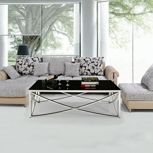 Couchtisch modern Glasplatte Metall Beine