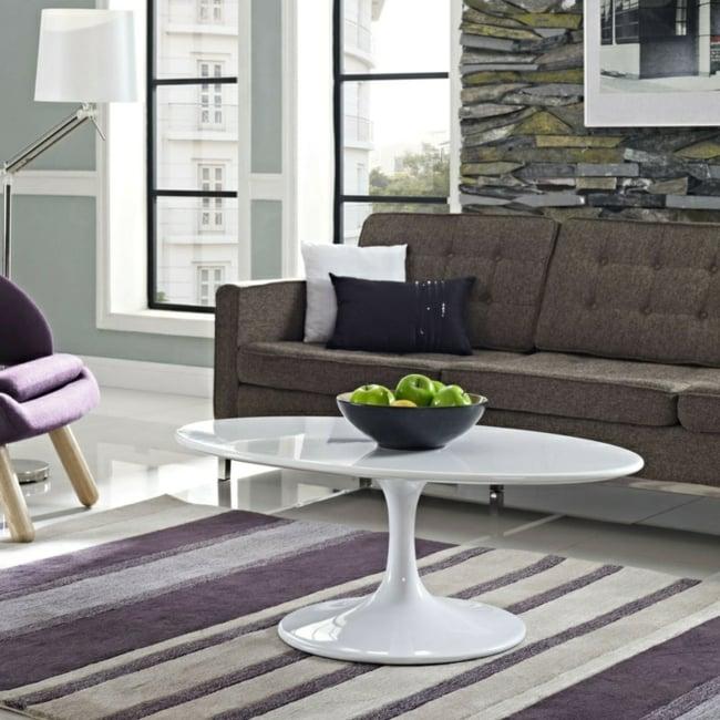 Couchtisch modern ovale Form minimalistisch weiss Hochglanz