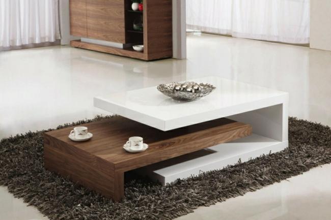 Couchtisch modern Holz zwei Teile futuristisch
