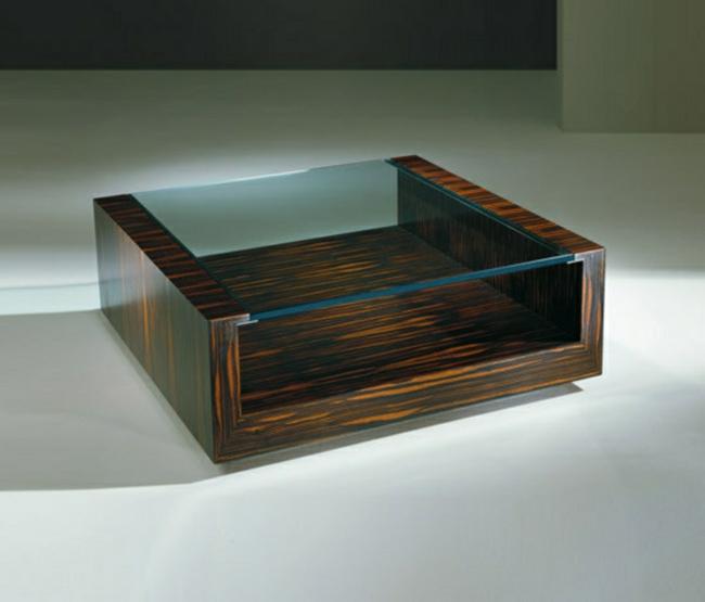 Couchtisch modern Basis Massivholz Glasplatte