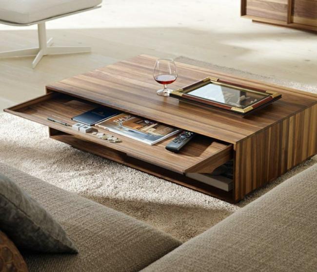 Couchtisch modern Holz praktisches Design Stauraum