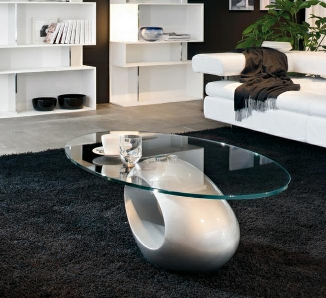 Couchtisch modern ZBasis rund ovale Tischplatte Glas