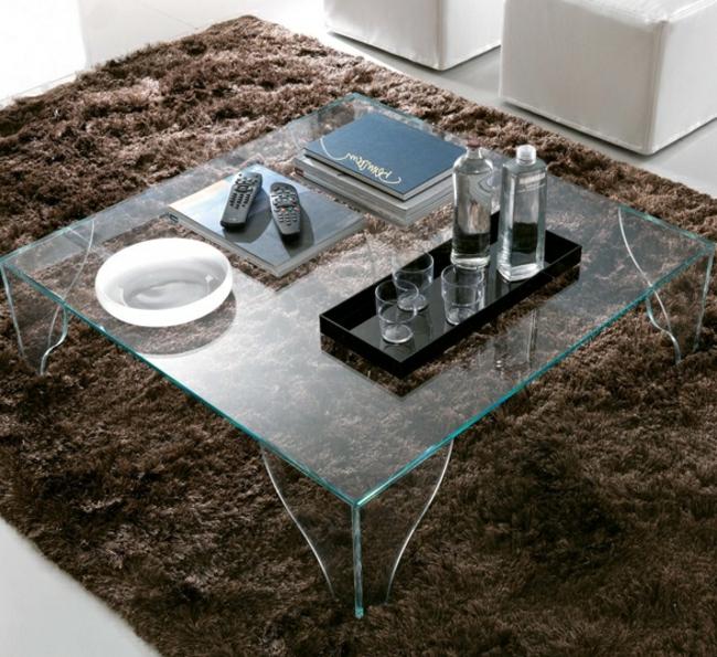 Couchtisch modern Glas Beine Tischplatte elegant