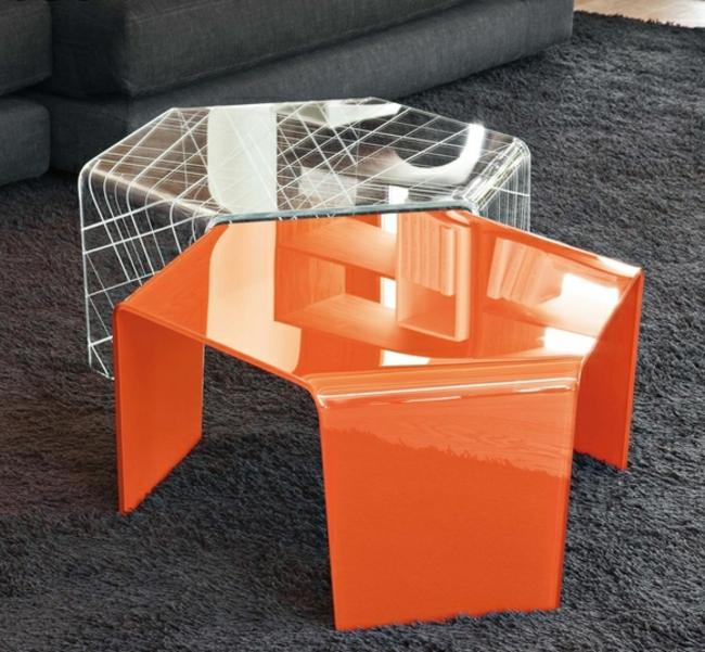 Couchtisch modern zwei Teile hexagonal