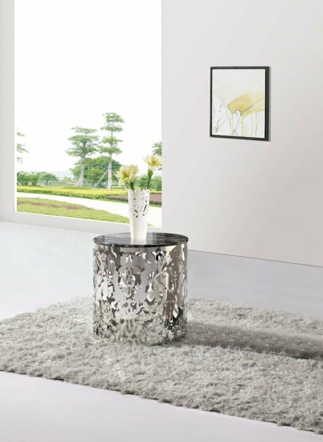 Couchtisch modern rund Aluminium minimalistisch