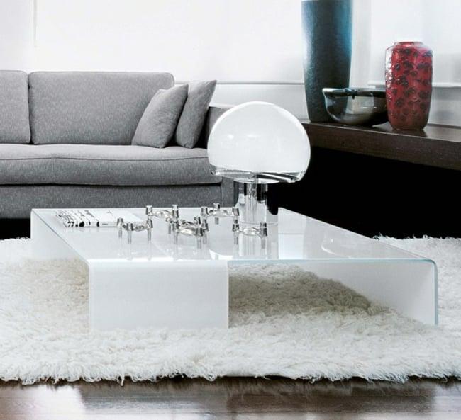 Couchtisch modern Glas niedrig minimalistisch