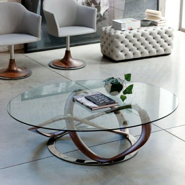 Couchtisch modern runde Glasplatte Holz