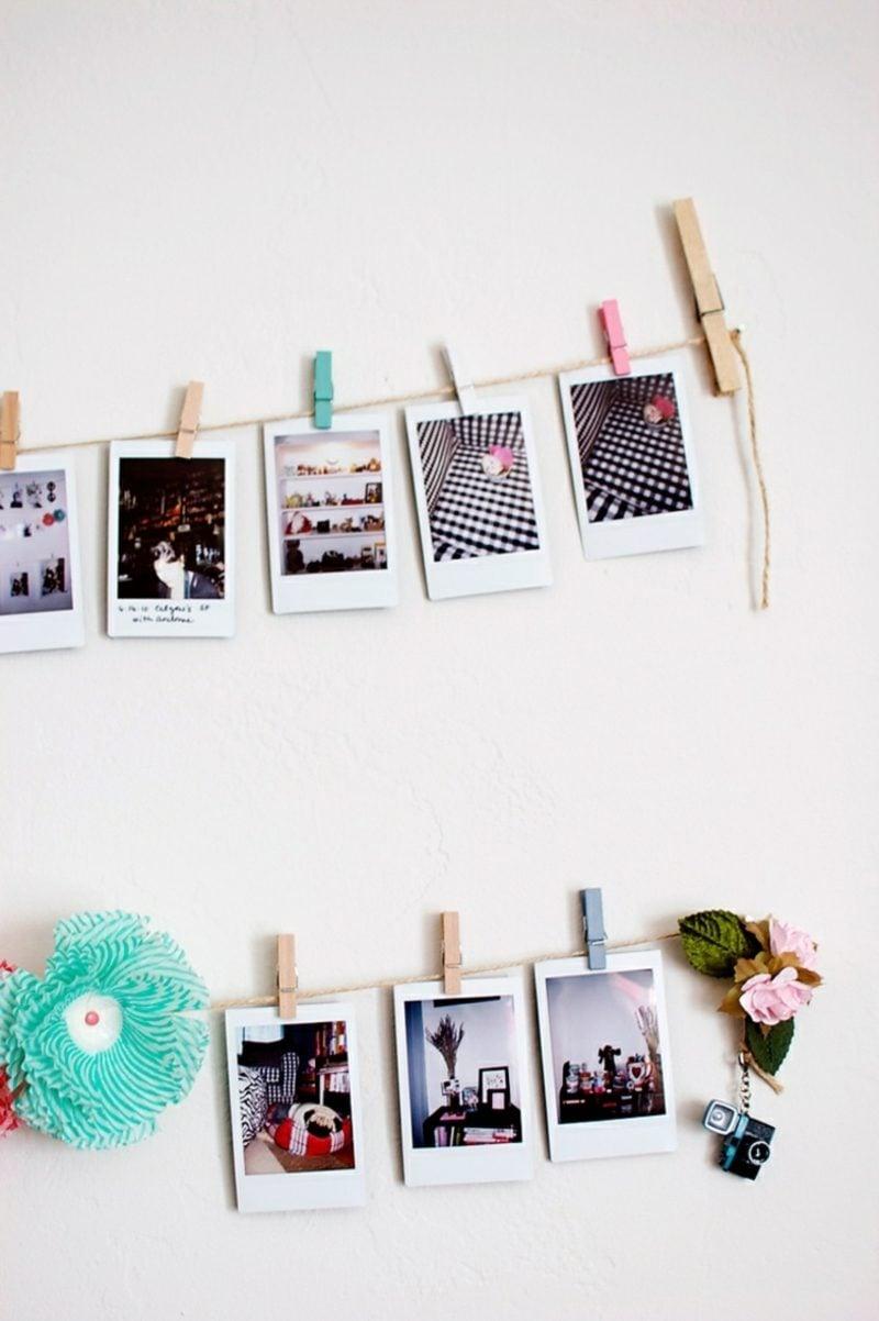 Fotowand gestalten ohne Bilderrahmen DIY Ideen