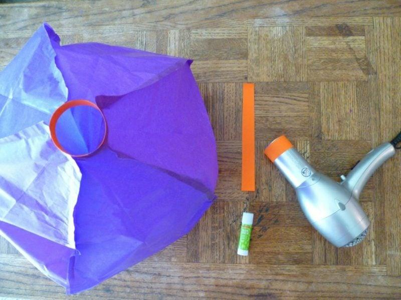 Heiβluftballon basteln aus Seidenpapier