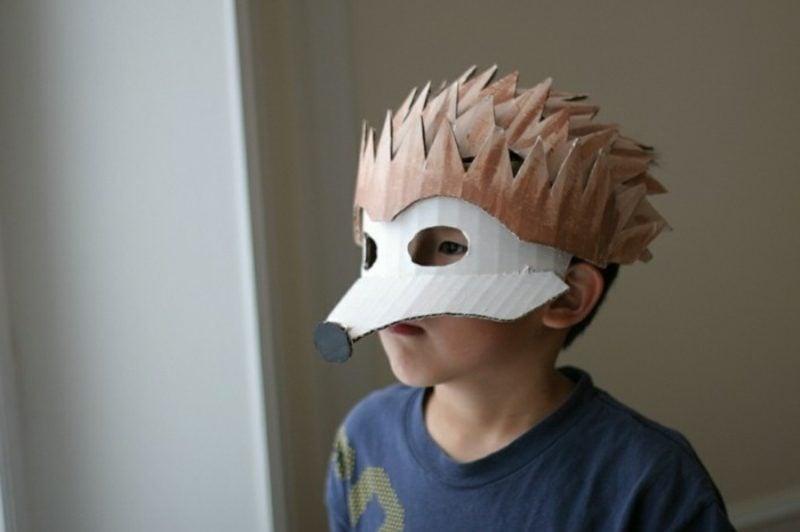 Igel basteln Maske Papier