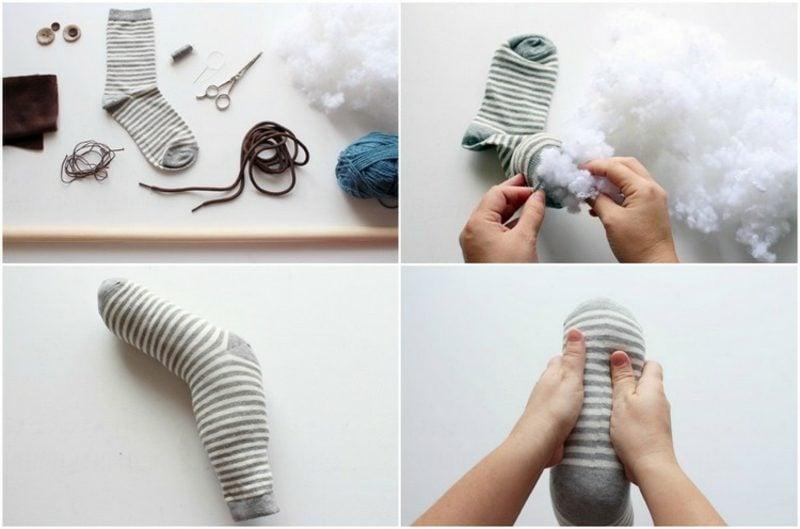 Steckenpferd basteln Socke mit Watte füllen