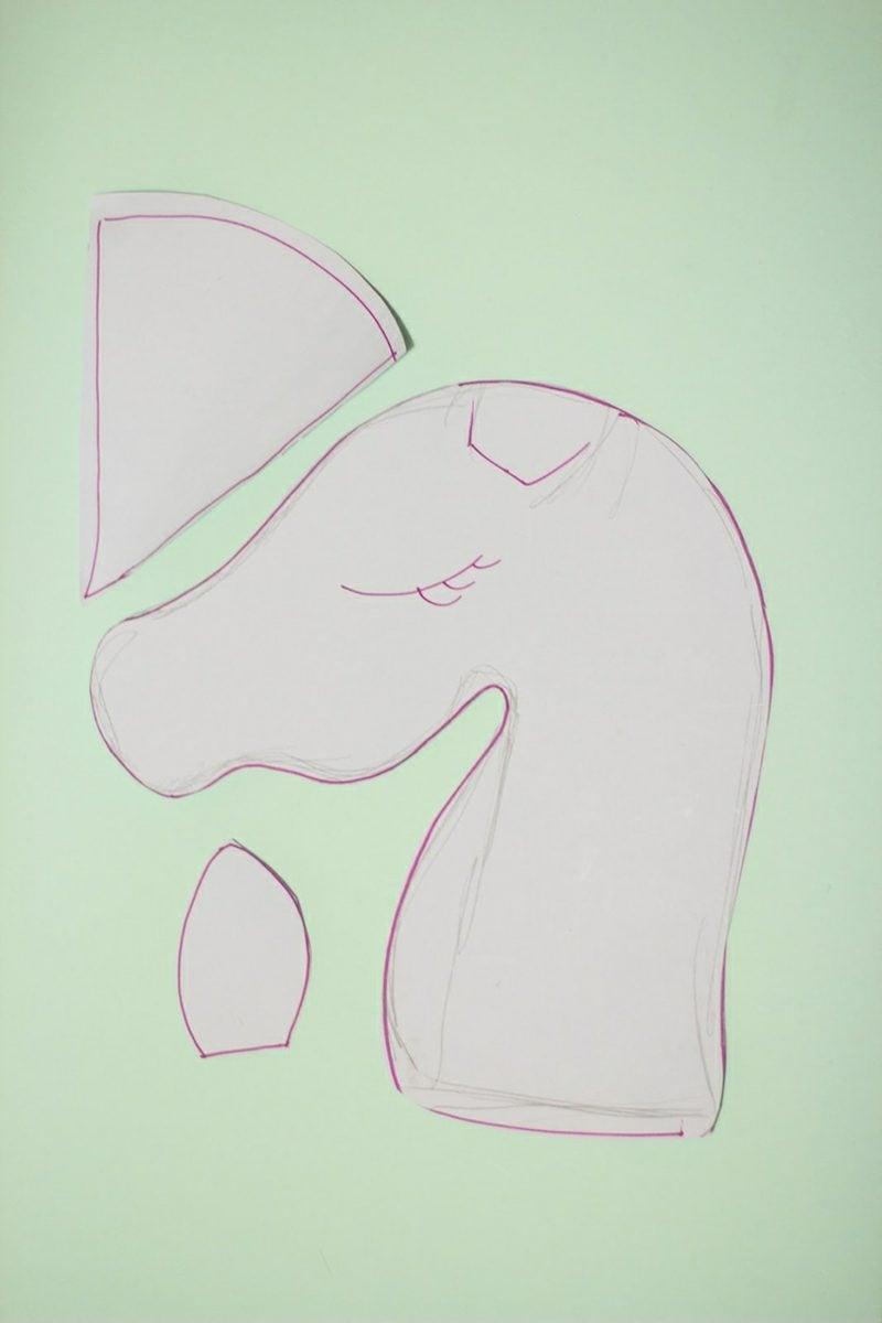 Steckenpferd basteln Einhorn Schablone