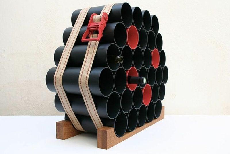 Weinregal selber bauen PVC Rohre