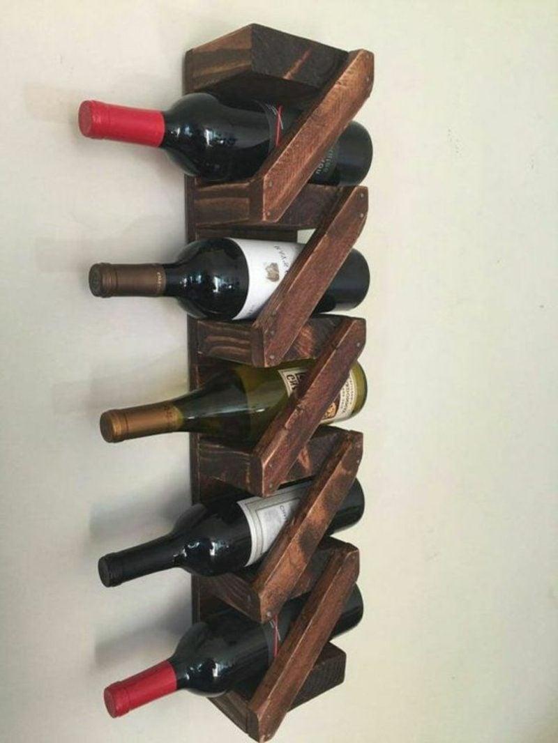 Weinregal selber bauen Holz originelle Konstruktion