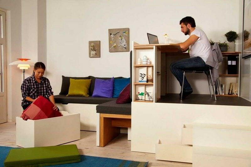 platzsparende Möbel Designer Einzimmerwohnung einrichten