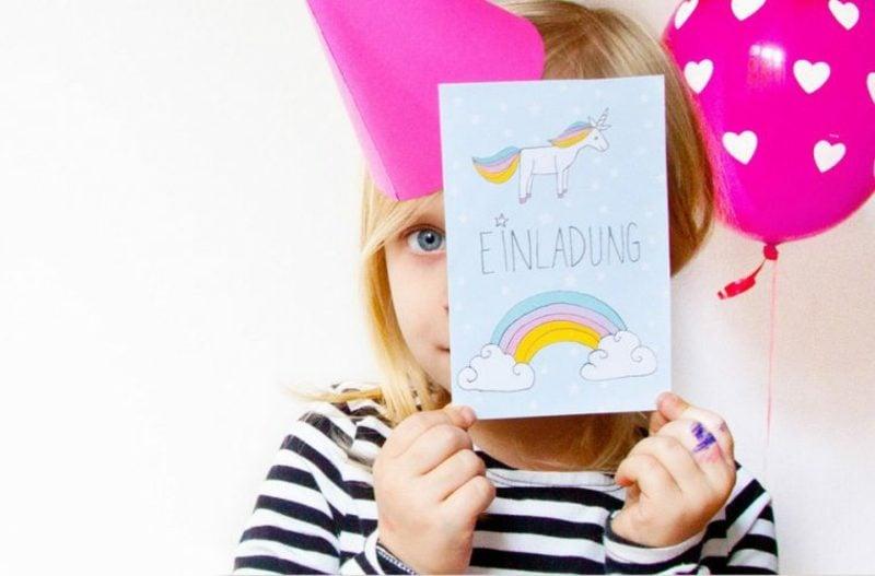 Einladung Kindergeburtstag Einhorn toller Look