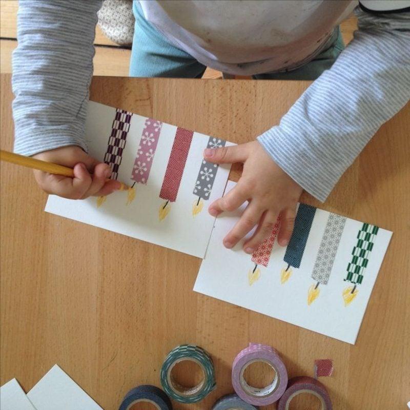 Einladung Kindergeburtstag basteln mit Washi Tape