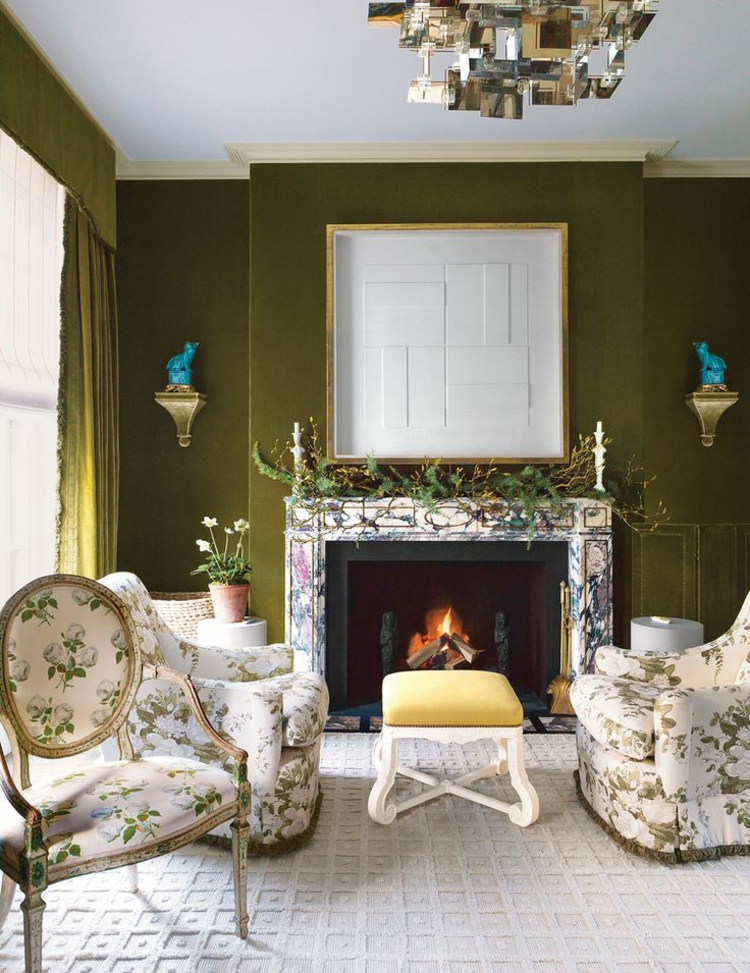 Khaki Farbe Wohnzimmer mit Kamin herrlicher Look