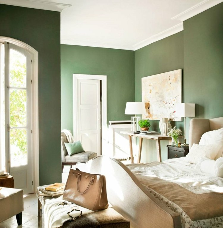 Khaki Farbe dunkel Wohnzimmer weisse Decke