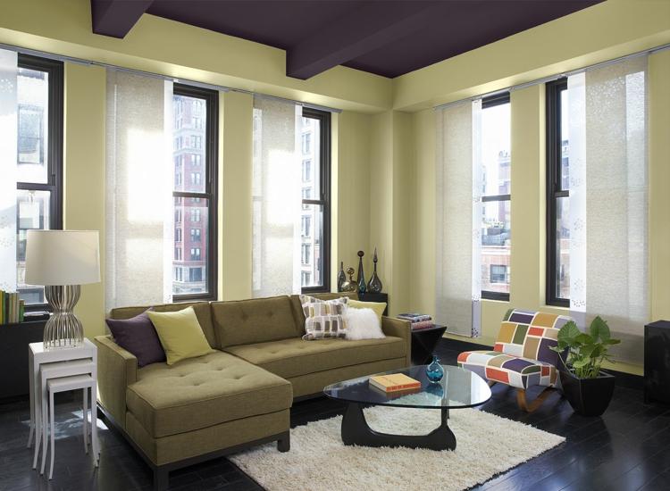 Khaki Farbe hell Wohnzimmer Wandgestaltung