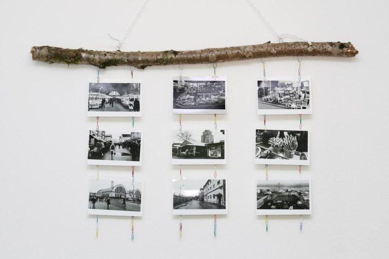 Fotowand gestalten ohne Bilderrahmen Ast Büroklammer