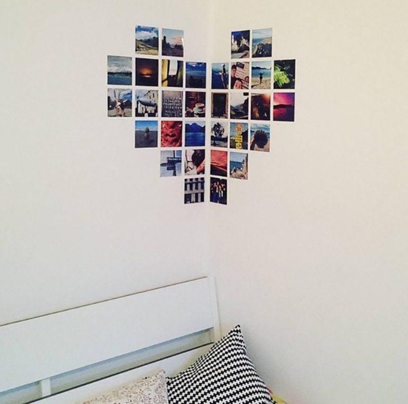 Fotowand gestalten ohne Bilderrahmen Herzform Ecke