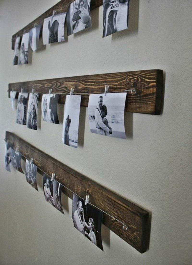 Fotowand gestalten ohne Bilderrahmen Holz