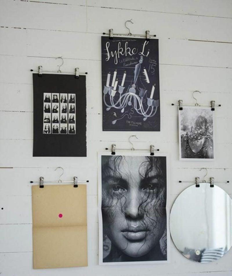 Fotowand gestalten ohne Bilderrahmen Kleiderhaken