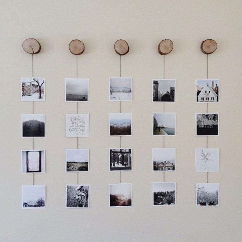 Fotowand gestalten ohne Bilderrahmen naturmaterialien Holz
